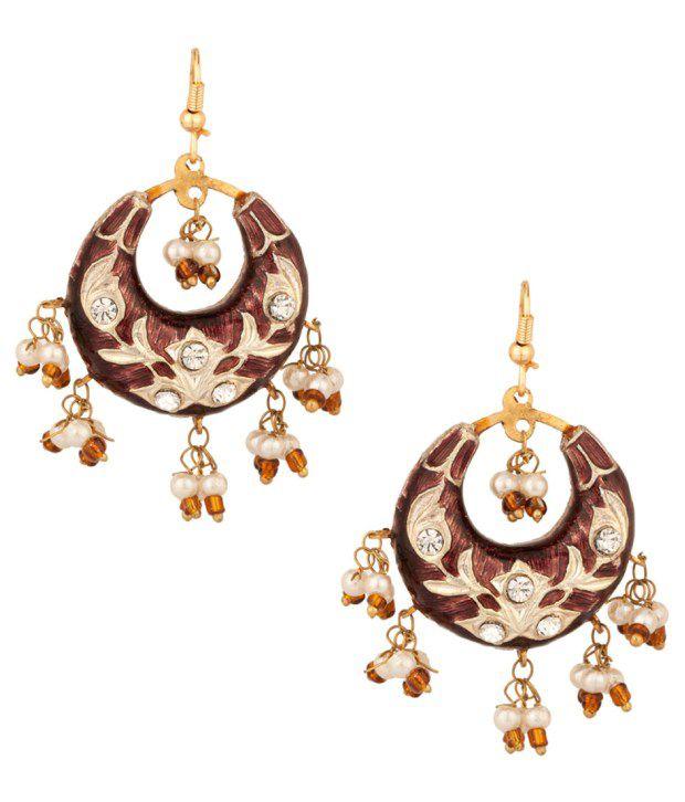 Voylla Crescent Earrings With Alluring Floral Meenakari Work