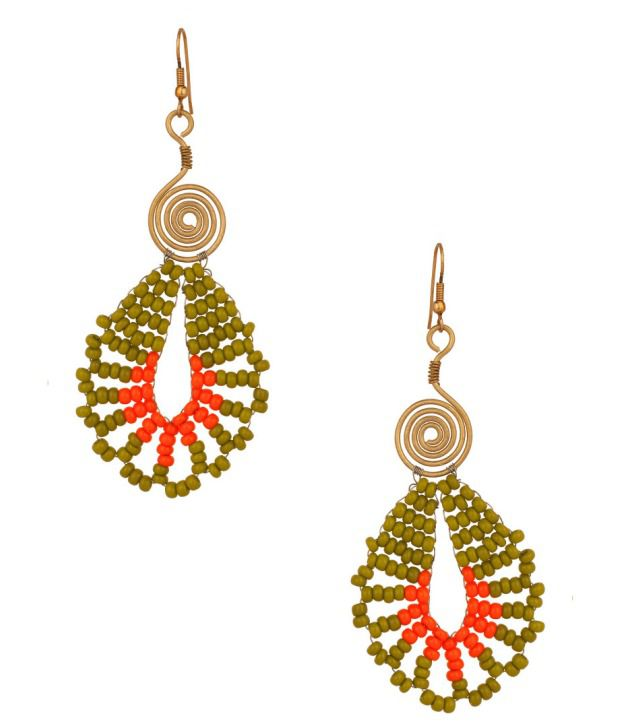 Voylla Earrings with Spiral Design; Mehndi Green; Shining Red Bead