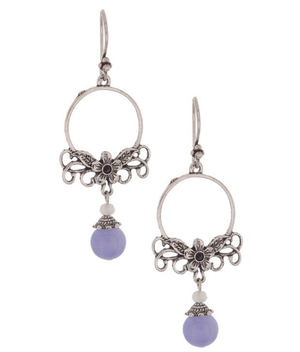 Voylla Elegant Floral Earrings With Purple Agate Beads