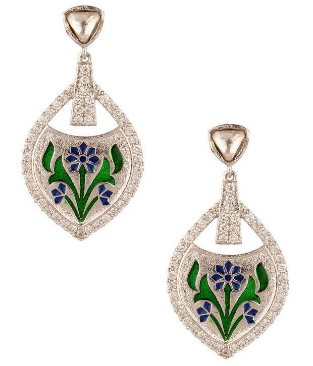 Voylla Elegant Tear Drop Floral Meenakari;Cz Earrings