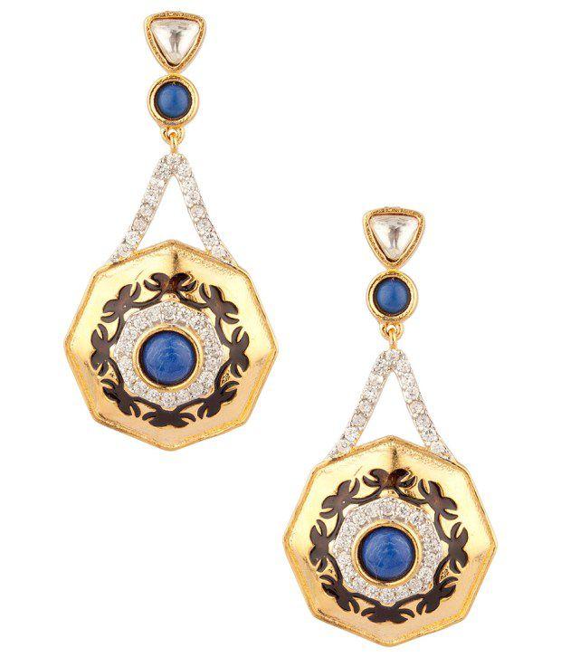 Voylla Geometric Floral Meenakari Blue Stone;Cz Earrings