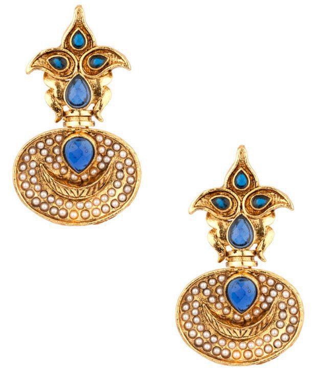 Voylla Glorious Blue Stones;Pearl Encrusted Leaf Earrings