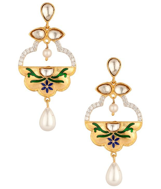 Voylla Glorious Floral Meenakari Pear Drop;Cz Earrings