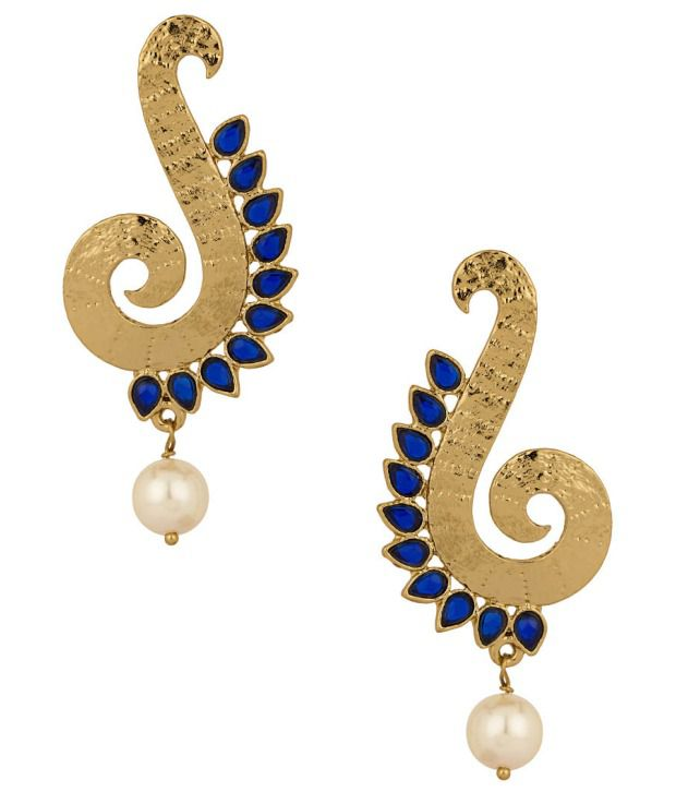 Voylla Gold Plated Spiral Curve Earrings With Pearl Beads and Blue Stones