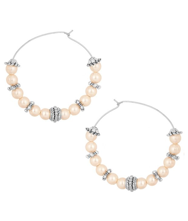 Voylla Oxidized Metallic Hoop Earrings Embellished With Pretty Pearl Beads