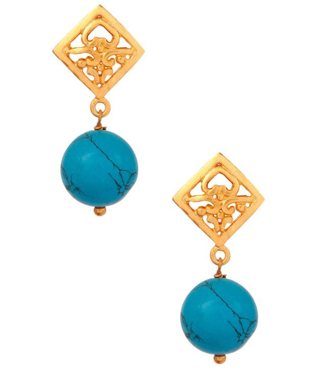 Voylla Rhombus Style Earrings With Turquoise Stone Drops