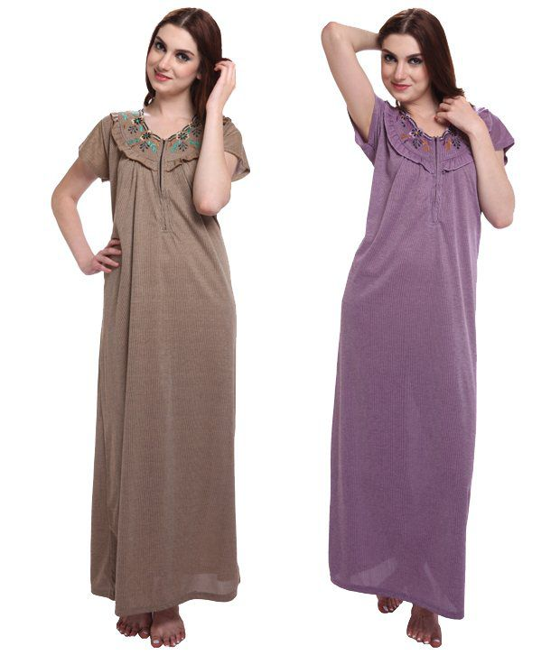 Affair Brown & Purple Cotton Nighty & Night Gowns Pack of 2
