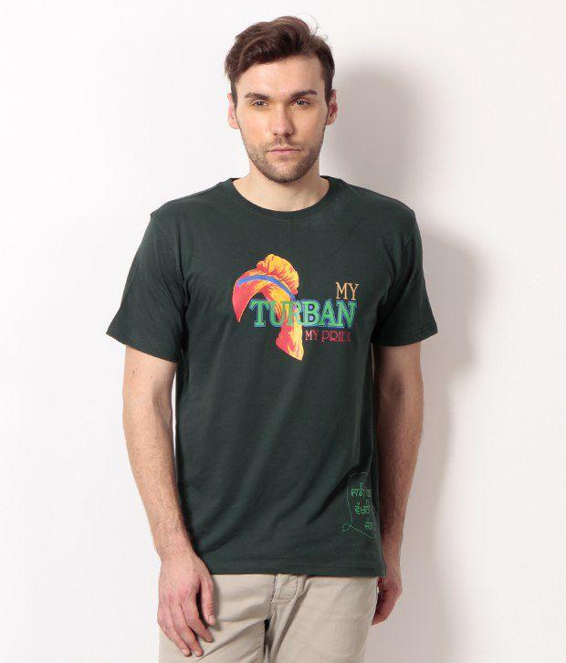 PUNJABI HERITAGE Deep Green My Turban My Pride Printed Cotton Men's T-Shirt