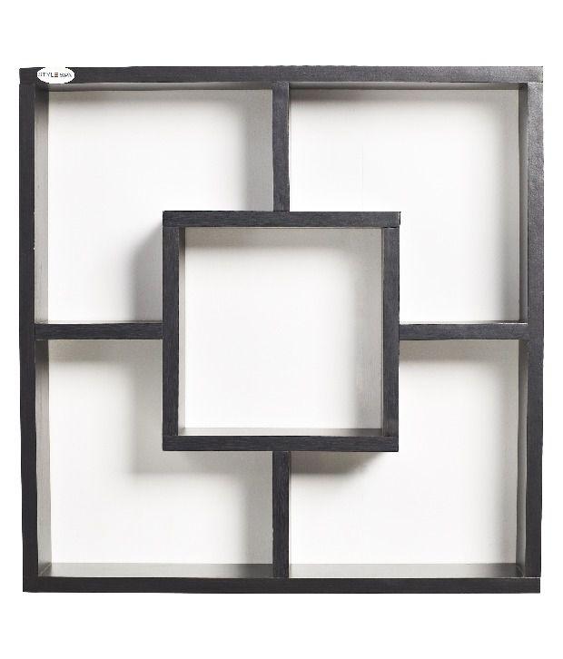 stylespa apollo wall mounted display shelf dark finish. Black Bedroom Furniture Sets. Home Design Ideas
