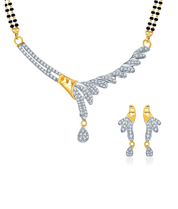 Sukkhi Graceful Gold and Rhodium plated CZ Mangal Sutra Set (Mangalsutra Mala may vary from the actual image)