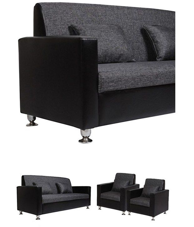 Purple Heart Black Gray Sofa Set 3 1 1 Buy Purple Heart Black