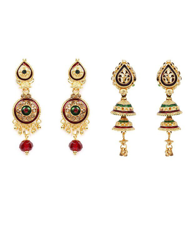 Combo of 2 Traditional Hanging Rajkot Earring by GoldNera