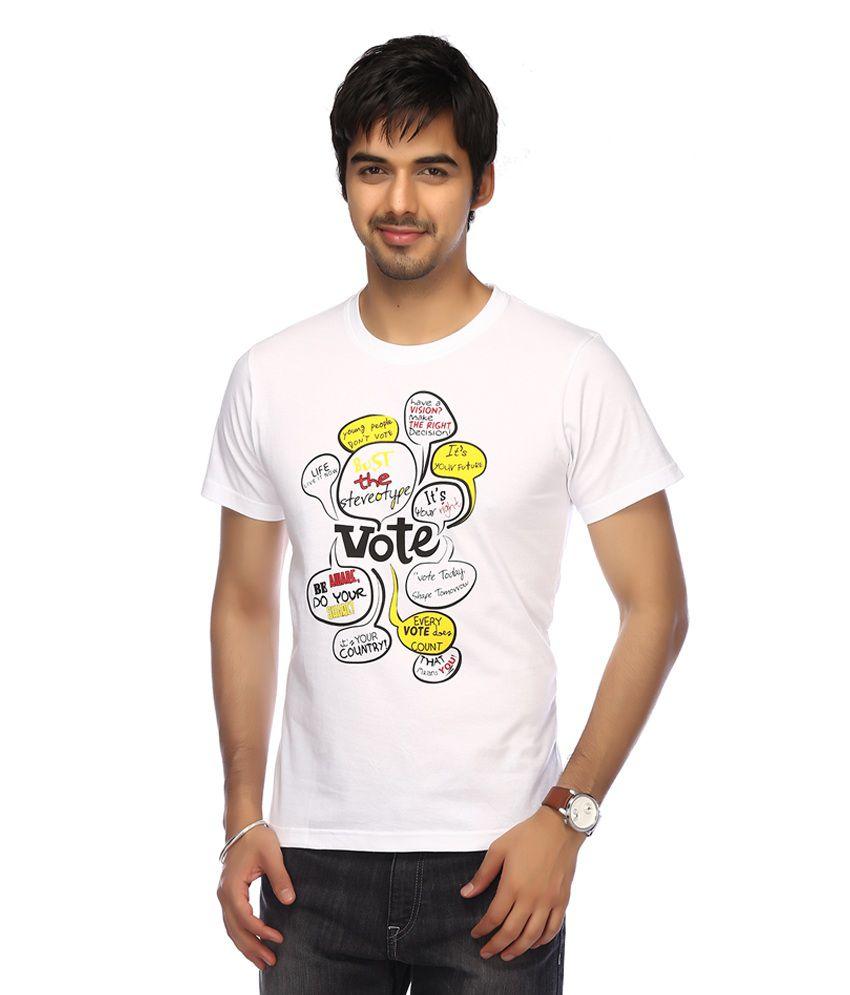 Life-Mens Short Sleeves Round Neck Slim Fit Voting Slogan White Print T-shirt