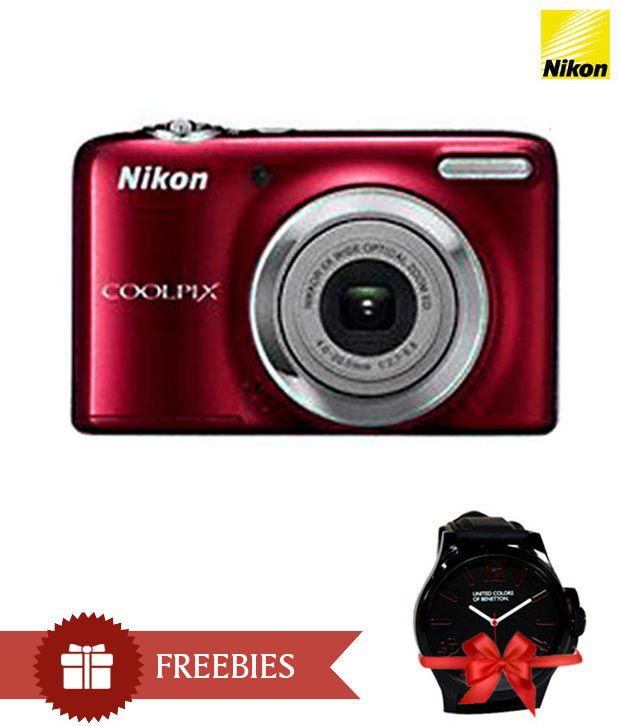 Nikon Coolpix L25 10.1MP Digital Camera (Red) Combo with Watch