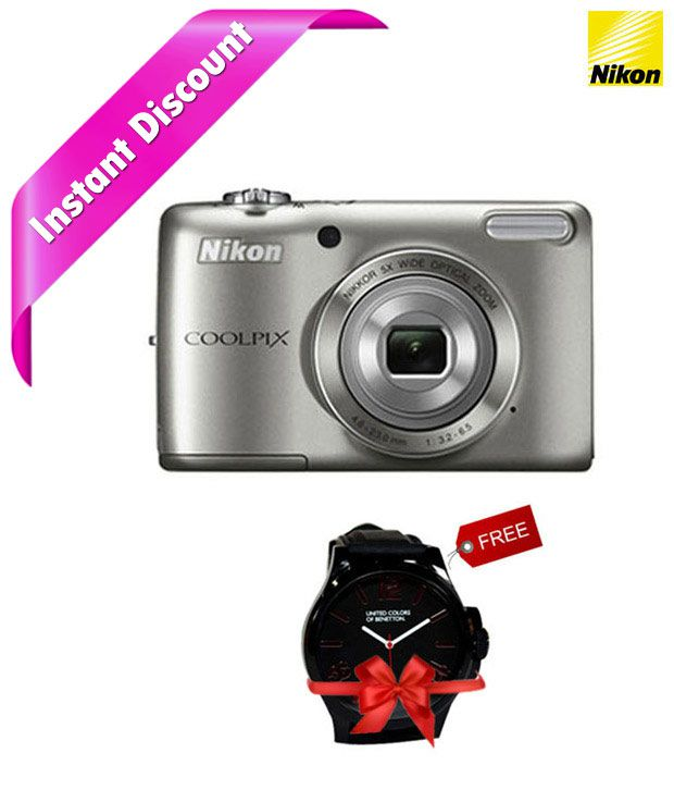 Nikon Coolpix L26 16.1MP Digital Camera (Silver) Combo with Watch