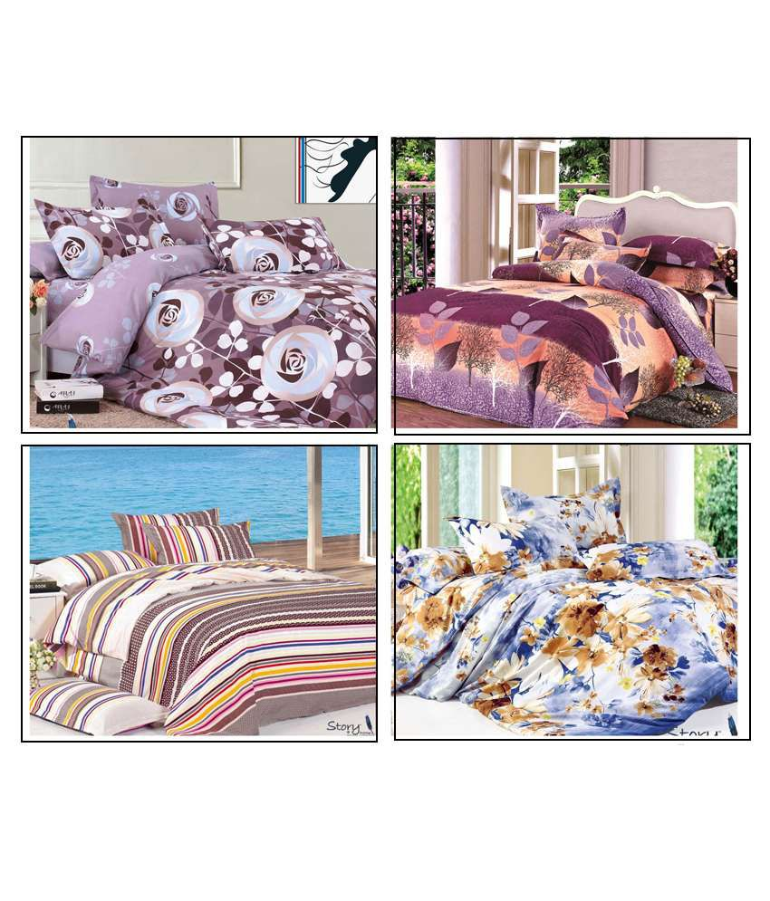 09e8f2c40fd730 Story   Home King Size Double Bed Sheets Combo Of 4 - Buy Story   Home King  Size Double Bed Sheets Combo Of 4 Online at Low Price in India -  Snapdeal.com