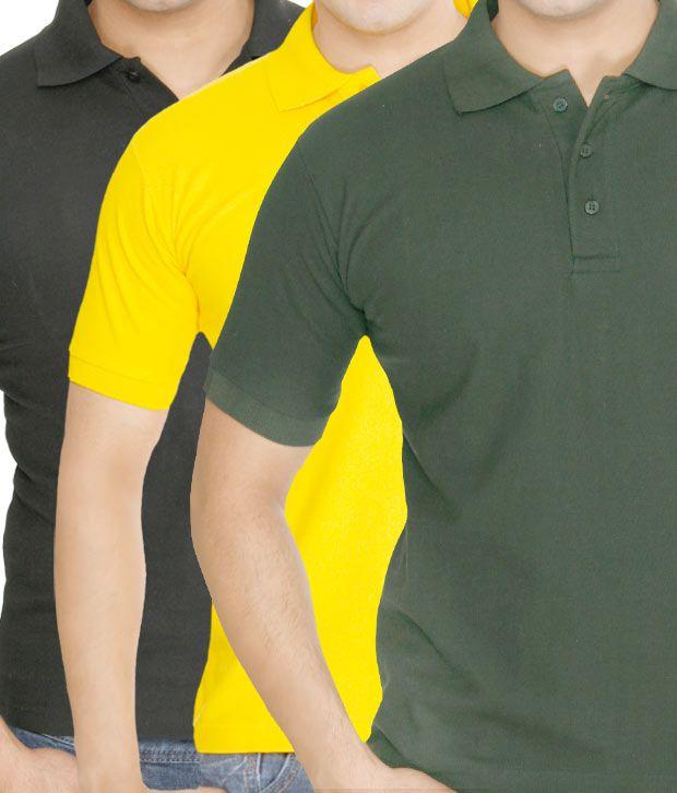 Weardo Yellow-Green-Black Pack Of 3 Polo T-Shirts