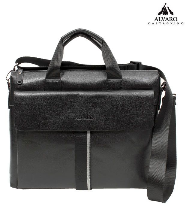 Alvaro Classy Black Textured Finish Laptop Bag