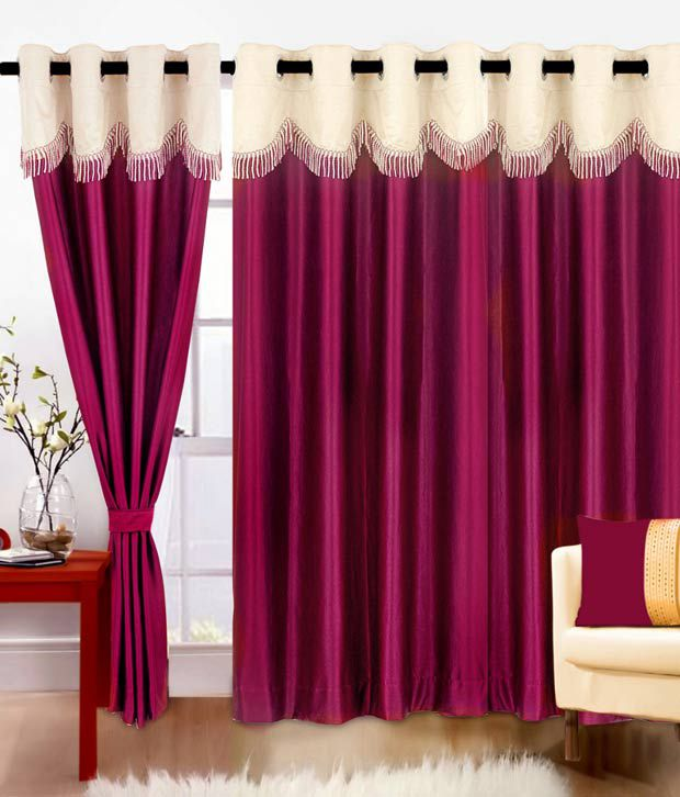 Cortina Single Door Crush Eyelet Curtain Contemporary Purple - Buy ...