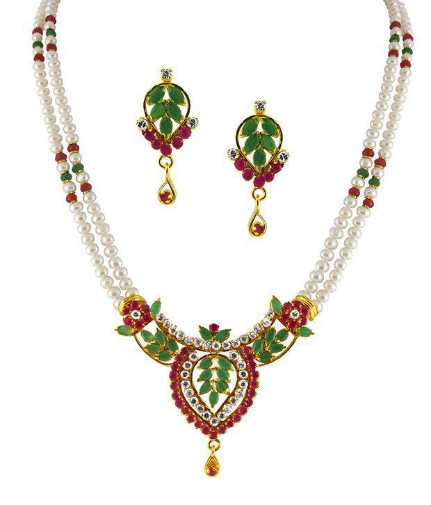 String Pearl Necklace: Sri Jagdamba Pearls Dual String Ruby & Pearl Necklace Set