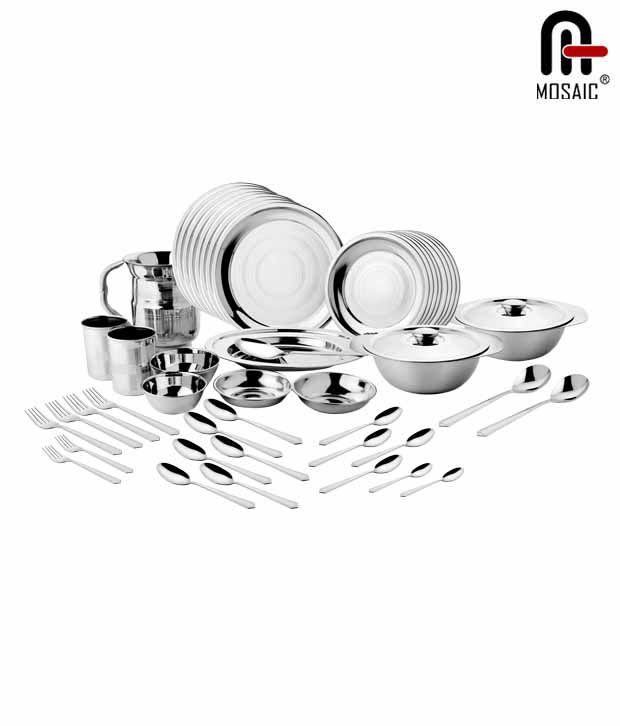 Mosaic Stainless Steel Dinner Set 91 Pcs Buy Online At Best Price