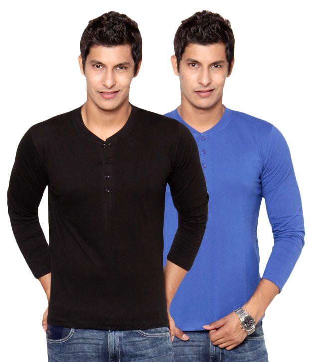Phoenix Black-Blue Pack Of 2 Henley T Shirts