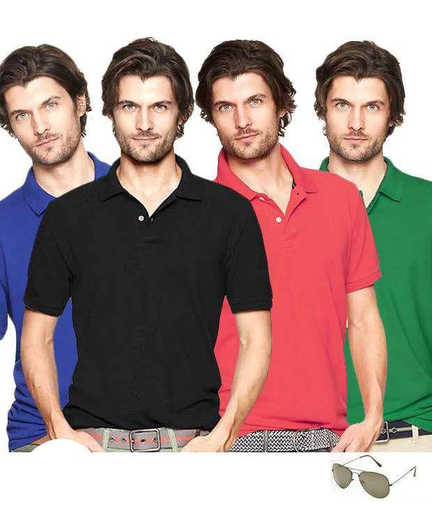 TSX Black- Red- Royal & Green Pack of 4 T-Shirts & Aviator Sunglasses