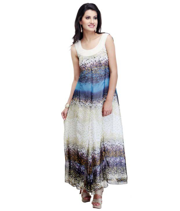 c6f996dfe64 ... Print Maxi Dress Chiffon Dresses - Buy Begin101 Blue Neck Detailing  Floral Print Maxi Dress Chiffon Dresses Online at Best Prices in India on  Snapdeal