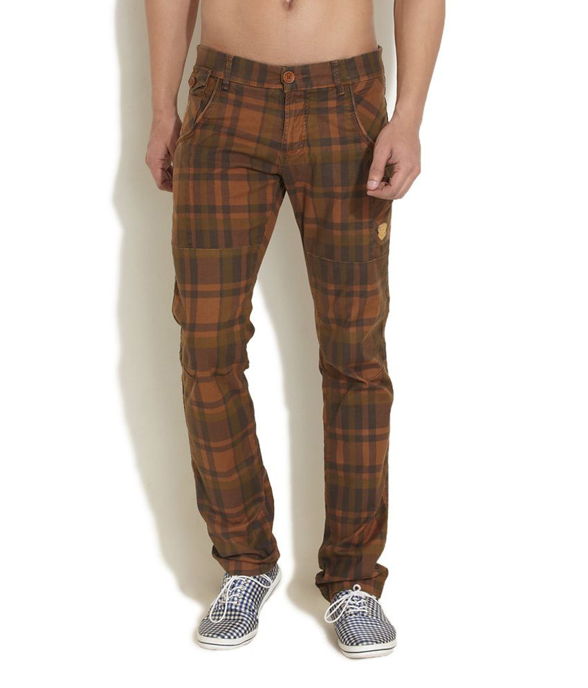 King And I Rustic Revelry Checks Pattern Brown Pant