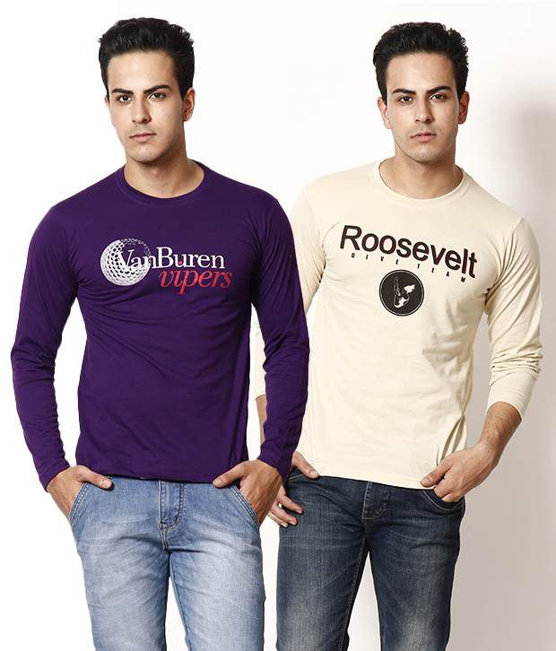 TSX Cream-Purple Pack of 2 T Shirts With Free Sunglasses
