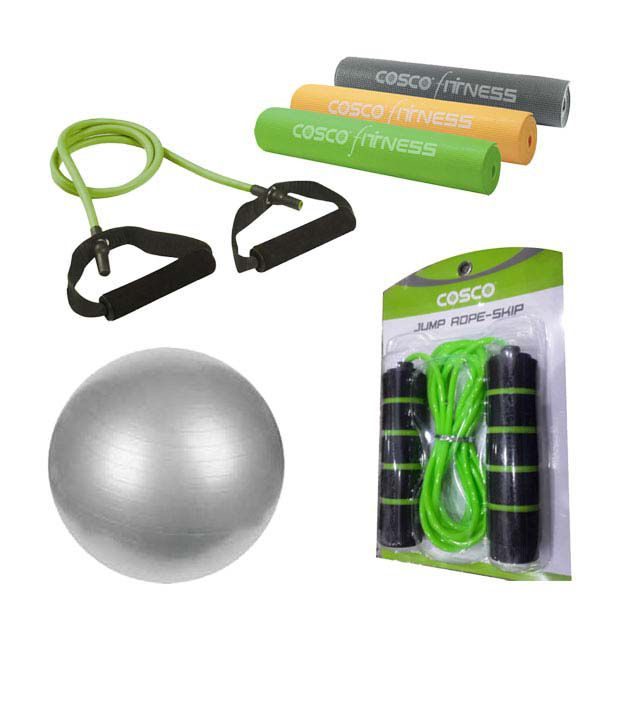 Cosco Gym Ball 65 Cm+ Yoga Mat + Skip Jump Rope + Toning
