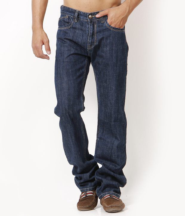 LITHIUM Dark Blue Regular Fit Faded Jeans