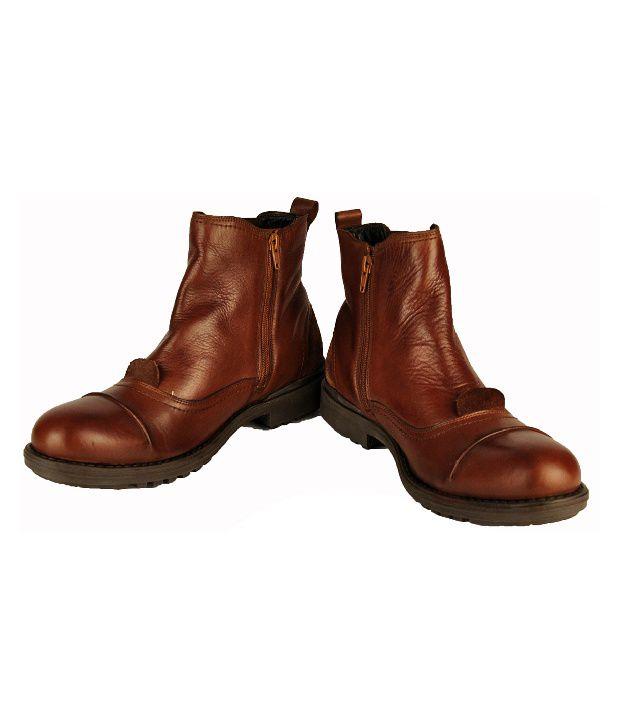 Salt 'n' Pepper Sturdy Cognac High Ankle Length Boots