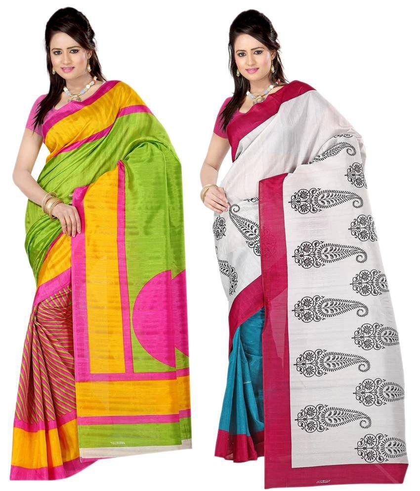 Sanju Sarees Superb Green And White Colour Bhagalpuri Silk Sarees Pack Of 2