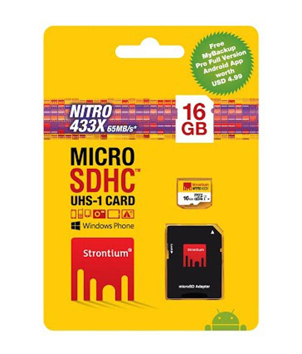 Strontium Nitro 433x 16GB MicroSDHC Class 10 (65MB/s) UHS-I Memory Card (With Adapter)