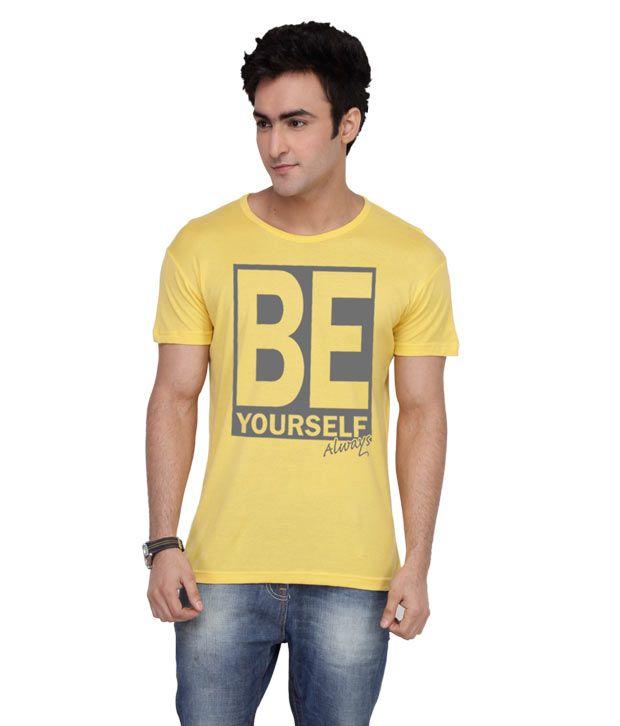 Inkovy Stylish Round Neck Be-Yourself Yellow T-Shirt