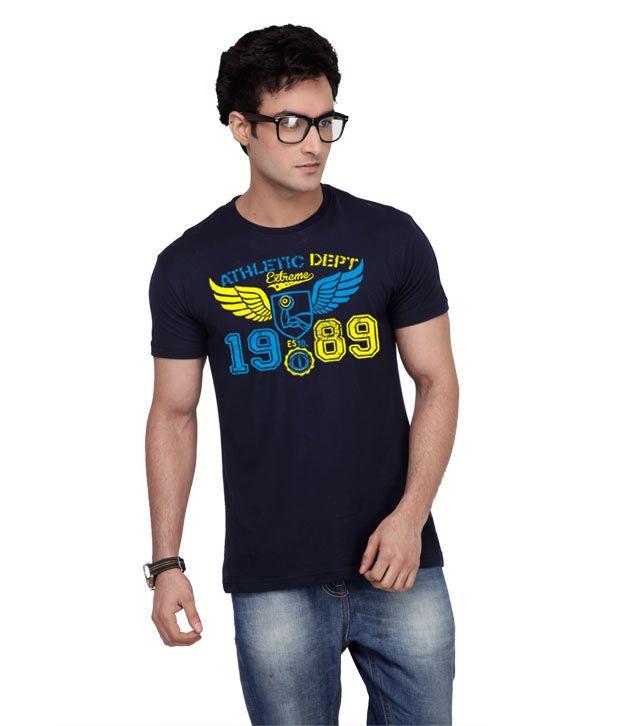 Inkovy Stylish Round Neck Ex-Wings Navy T-Shirt