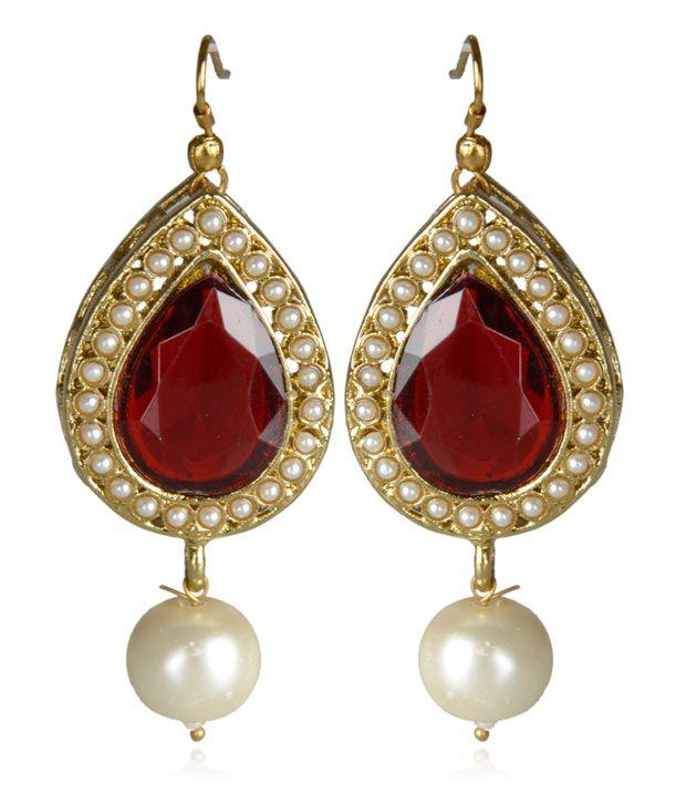 Kshitij Jewels Red Stone & White Pearl Earrings