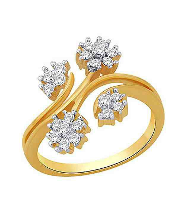 Sagaee Floral Diamond Studded Gold Ring