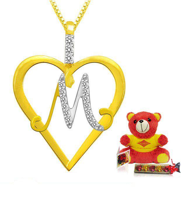 Sparkles Letter `M` Heart Shape Pendant: Buy Sparkles ...