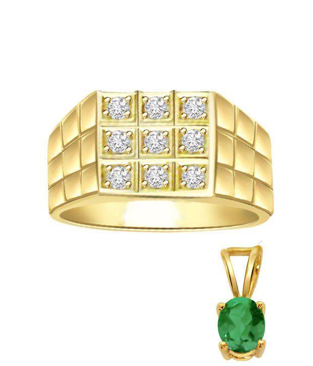 Surat Diamond Unique Men's Ring With Free Emerald Gold Pendant