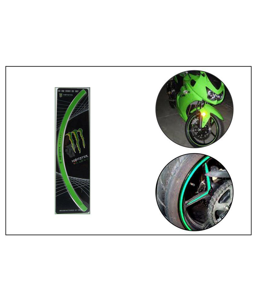 Bike stickers design india - Monster Stylish Bike Tyre Rim Sticker Green