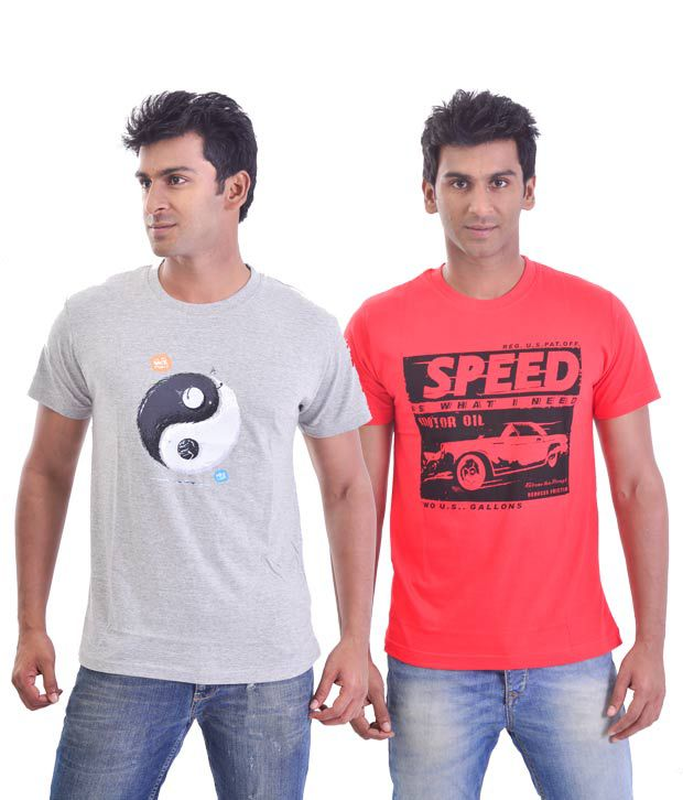 Stitche Pack Of 2 Ying Yang & Speed Printed T-Shirts