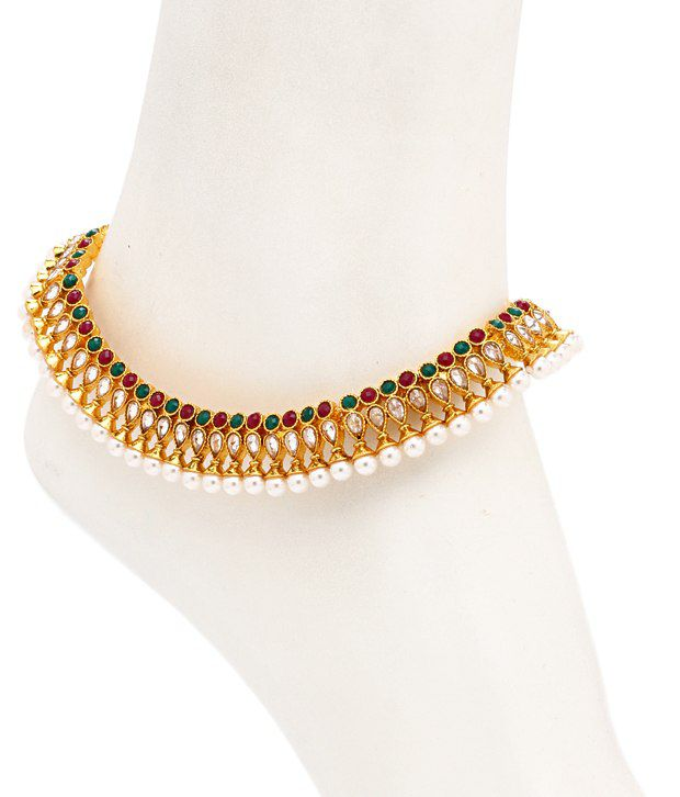 Sukkhi Wedding Red and Green Pair of Anklet