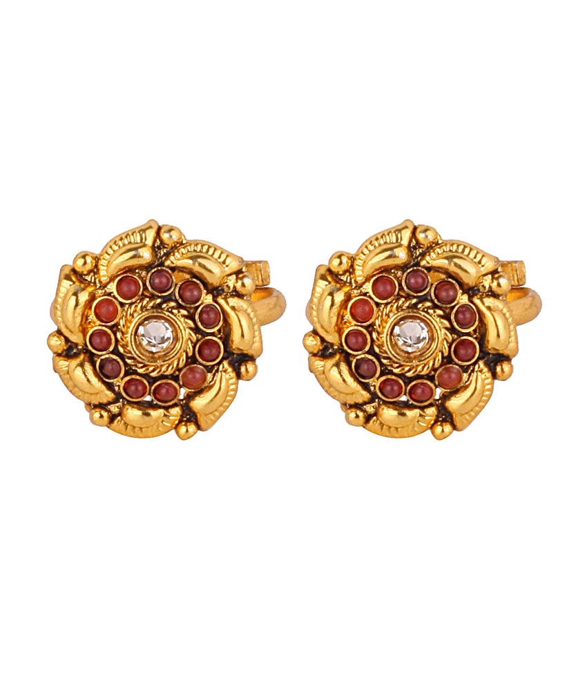 VaRaaGk Ethnic Adjustable Flower Design Toe Ring with Red and White Stones