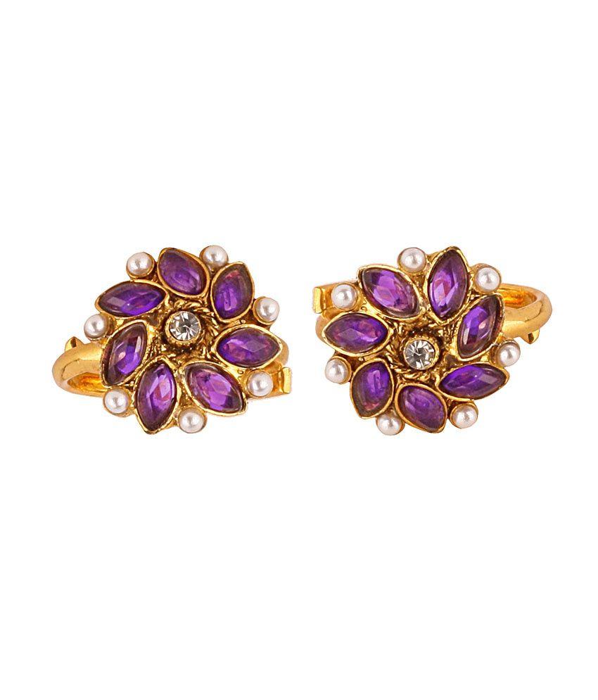 VaRaaGk Ethnic Toe Ring Adjustable - Purple & Pearl with White Center Stone