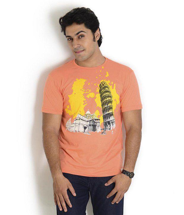 Globus Orange Half Cotton Round  T-Shirt
