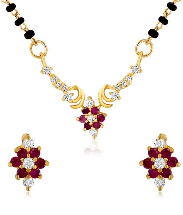 Mahi Gold Plated Alliance Mangalsutra Set with CZ and Ruby Stones