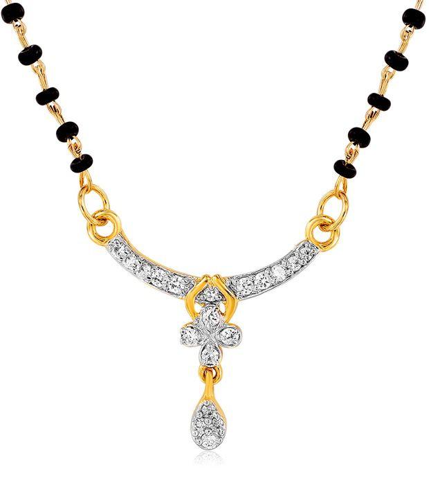 Mahi Gold Plated Numinous Mangalsutra Pendant with CZ Stones