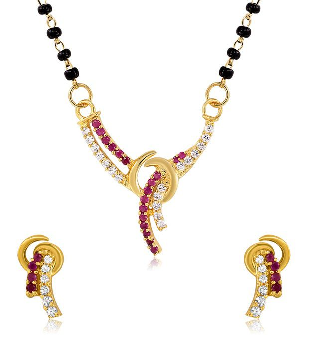 Mahi Gold Plated Sacred Love Mangalsutra Set with CZ and Ruby Stones